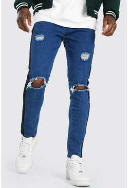 Mid blue blue Skinny Distressed Jean With Tape Detail