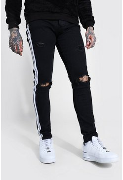 Washed black Skinny Distressed Jean With Tape Detail