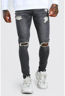 Grey Super Skinny Jeans With Distressing