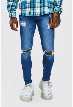 Pale blue blue Super Skinny Jeans With Distressing