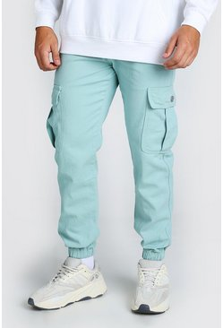 Sage Twill Fit Cargo Trousers With Popper Pocket