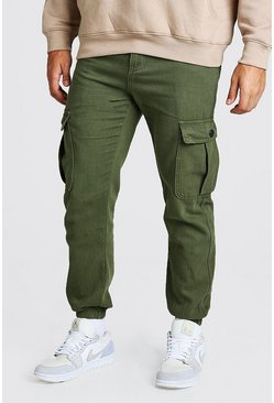 Khaki Twill LooseFit Cargo Trousers With Popper Pocket