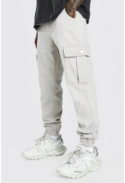 Sand Twill Loose Fit Cargo Trousers With Popper Pocket