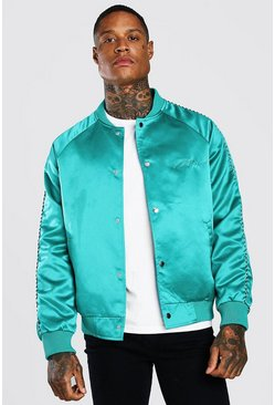 Satin MAN Signature Embroidery Bomber Jacket, Emerald verde