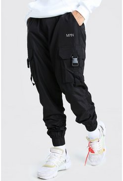 Black Original Man Shell Cargo Trouser With Strap