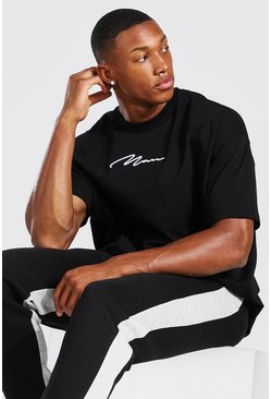 Oversized MAN Signature 3D Embroidered T-Shirt, Black noir