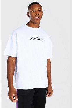 Oversized MAN Signature 3D Embroidered T-Shirt, White blanc