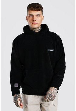 Black Oversized MAN Official Polar Fleece Hoodie