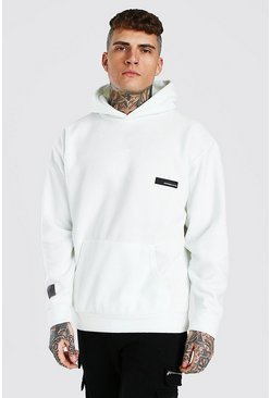 Oversized MAN Official Polar Fleece Hoodie, Ecru blanco