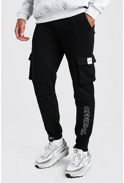 Slim Fit Jersey Cargo Jogger With Official Print, Black noir