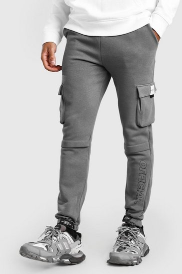 Slate grey Slim Fit Jersey Cargo Jogger With Official Print