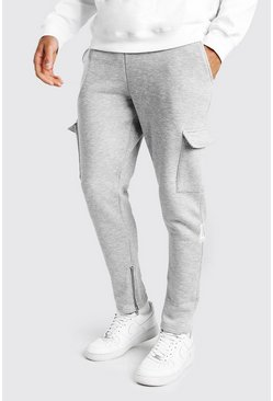 Grey marl Tapered Fit Cargo Joggers With Zip Pockets