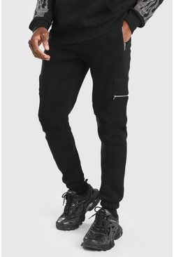 Black Slim Fit Cargo Jogger With Zip Pockets