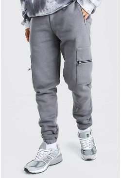 Slim Fit Cargo Jogger With Zip Pockets, Slate gris