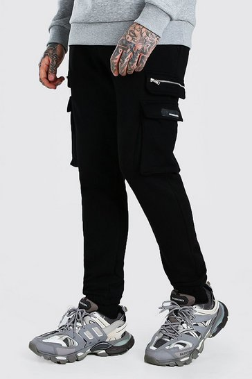 Black Skinny Fit Cargo Jogger With Zips