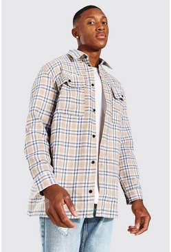 Stone Long Sleeve Brushed Check Overshirt