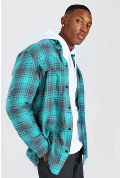 Green Long Sleeve Brushed Check Overshirt