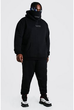 Plus Size MAN Official Snood Tracksuit, Black negro