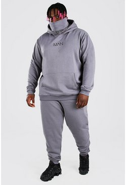 Slate grey Plus Size MAN Official Snood Tracksuit