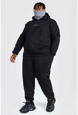 Plus Size MAN Contrast Snood Tracksuit, Black negro