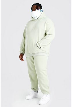 Sage green Plus Size MAN Contrast Snood Tracksuit