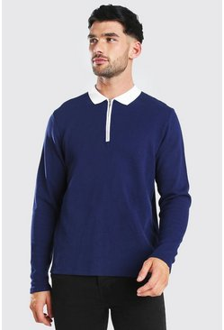 Navy Long Sleeve Contrast Collar Knitted Polo