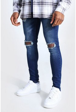 Washed indigo blue Super Skinny Bleached Distressed Jeans