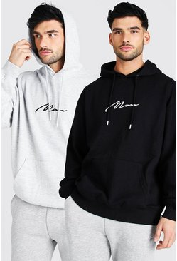 Multi 2 Pack Oversized MAN Signature Hoodie