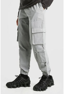 Dark grey grey Twill Pocket Cargo Trouser With Bungee Cords