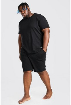 Plus Size MAN Script Lounge Short Set, Black negro