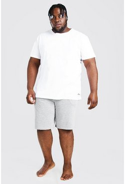Plus Size MAN Script Lounge Short Set, Grey gris