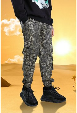 Brown brun Burna Boy Snake Print Utility Cargo Trouser