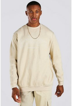 Sand beige Loose Fit Brooklyn Print Sweatshirt