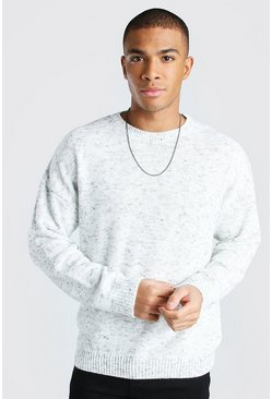 White Oversized Space Dye Crew Neck Sweater