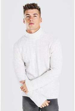 Ecru white Chunky Roll Neck Jumper With Contrast Stitch