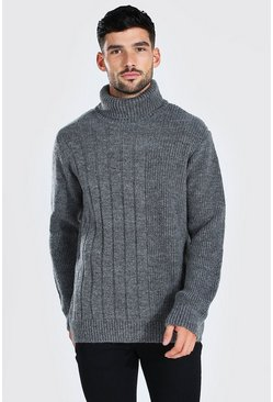Grey Chunky Roll Neck Jumper With Contrast Stitch