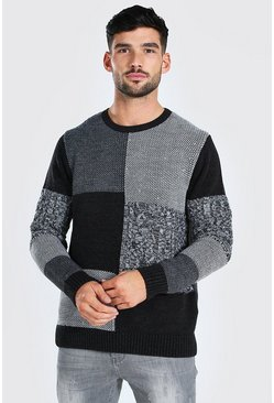 Patchwork Knitted Chunky Jumper, Black noir