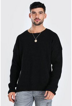 Black Oversized Textured Knitted Jumper