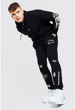Black Original MAN Graffiti Hooded Tracksuit