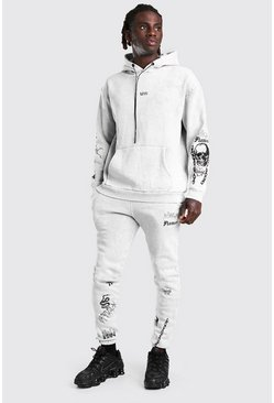 Light grey grey Overdye Original MAN Graffiti Hooded Tracksuit
