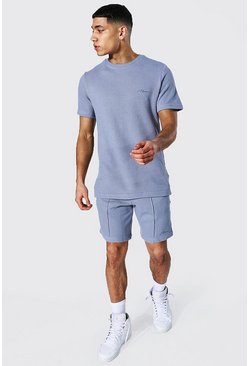 Blue Slim Fit Man Pique Tee & Pintuck Short Set