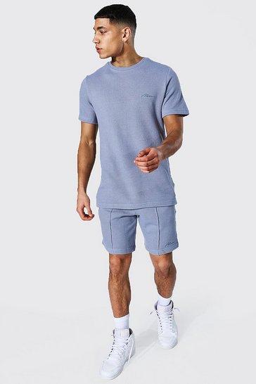 Blue Slim Fit Man Pique Tee & Pintuck Short Set