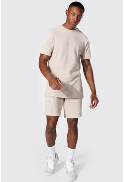 Stone beige Slim Fit Man Pique Tee & Pintuck Short Set