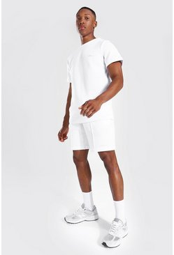 Slim Fit Man Pique Tee & Pintuck Short Set, White Белый