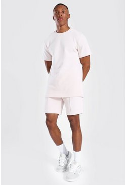 Slim Fit Man Pique Tee And Pintuck Short Set, Pink Розовый