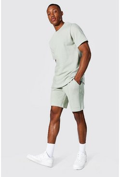 Slim Fit Man Pique Tee & Pintuck Short Set, Sage Серый