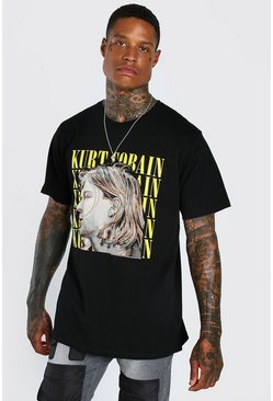 Black Kurt Cobain Print License T-Shirt