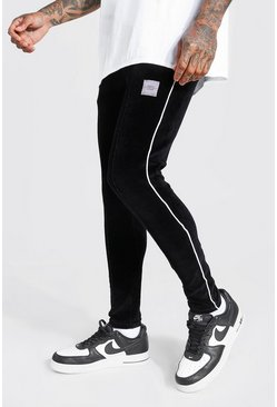 Black MAN Official Super Skinny Fit Velour Pintuck Jogger