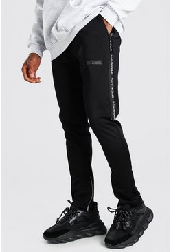 MAN Official Skinny Fit Tape Tricot Jogger, Black negro