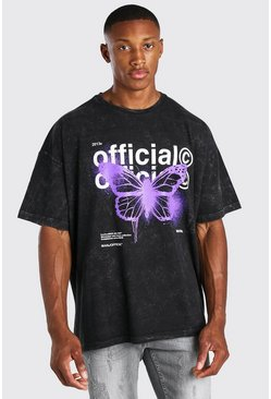 Charcoal grey Oversized MAN Acid Wash Butterfly T-Shirt